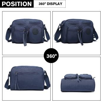 E6824-KONO Casual Multi Pocket Lightweight Cross Body Messenger Bag BLUE
