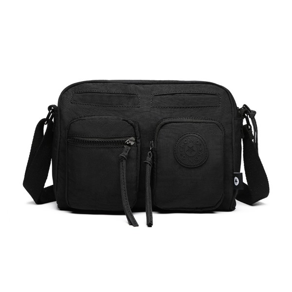 E6824-KONO Casual Multi Pocket Lightweight Cross Body Messenger Bag BLACK