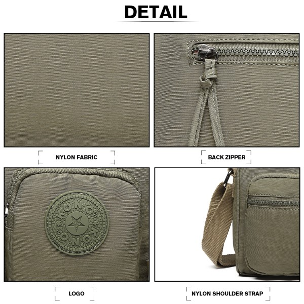 E6824-KONO Casual Multi Pocket Lightweight Cross Body Messenger Bag GREEN