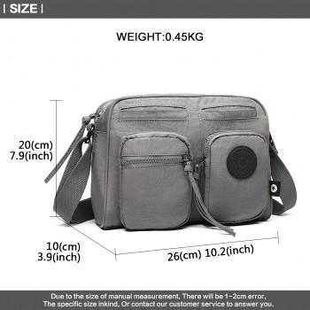 E6824-KONO Casual Multi Pocket Lightweight Cross Body Messenger Bag GREY