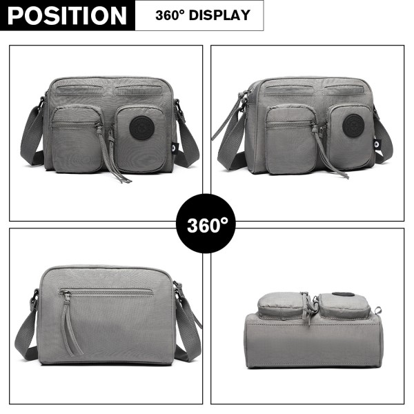 E6824-KONO Casual Multi Pocket Lightweight Cross Body Messenger Bag GREY