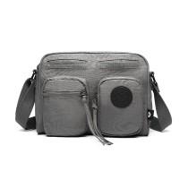 E6824-KONO Casual Multime Pocket Lightlight Cross Body Messenger Bag GREY