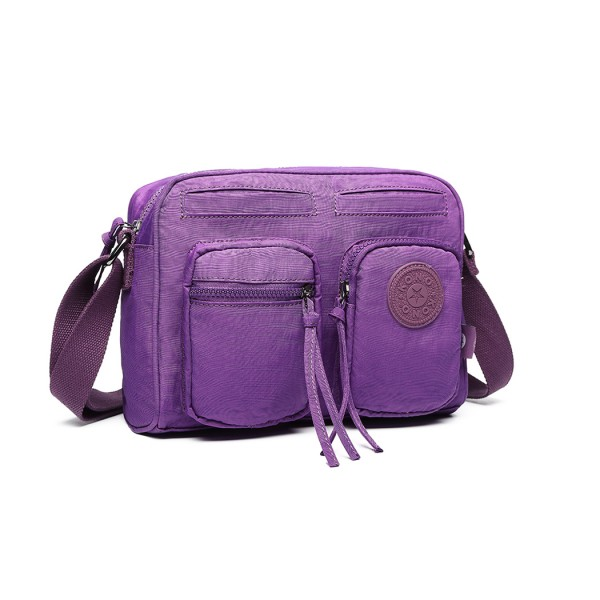 E6824-KONO Casual Multi Pocket Lightweight Cross Body Messenger Bag PURPLE