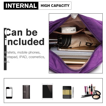 E6824-KONO Casual Multi Pocket Lightweight Cross Body Messenger Bag PURPLE