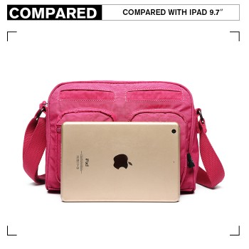 E6824-KONO Casual Multi Pocket Lightweight Cross Body Messenger Bag PLUM