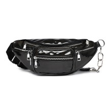 E6831-MISS LULU Patent Leather Zip Front WAISTBAG Bum Bag BLACK
