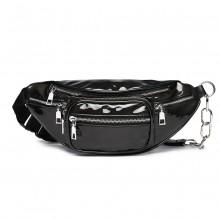 E6831-MISS LULU Patent Leather Zip Front WAISTBAG Bum Bag BLACK