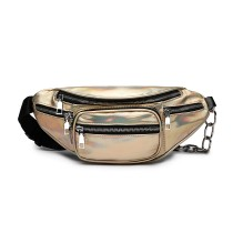 E6831-MISS LULU Patent Leather Zip Front WAISTBAG Bum Bag GOLD