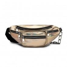 E6831-MISS LULU Patent Leather Zip Front WAISTBAG Bum Bag GOLD