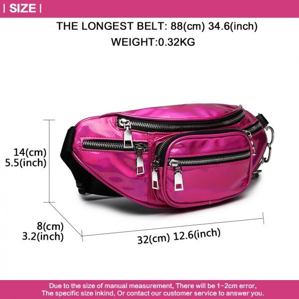 E6831-MISS LULU Patent Leather Zip Front WAISTBAG Bum Bag PLUM