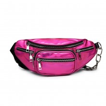 E6831-MISS LULU Patent Leather Zip Front WAISTBAG Bum Bag PLUM