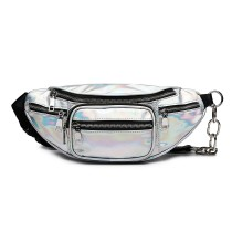 E6831-MISS LULU Patent Leather Zip Front WAISTBAG Bum Bag SILVER