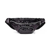 E6832-MISS LULU SEQUIN Zip Front WAISTBAG Bum Bag BLACK