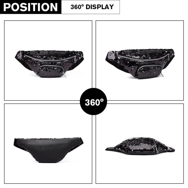 E6832-MISS LULU SEQUIN Zip Front WAISTBAG Bum Bag BLACK