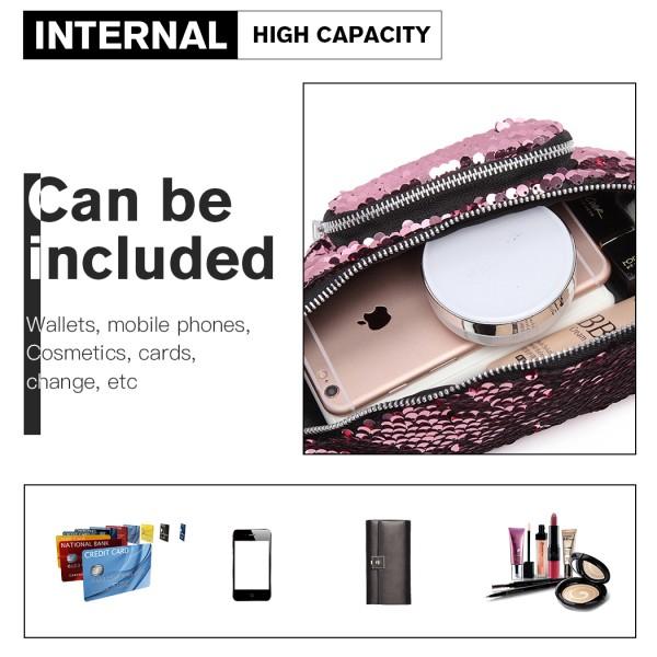 E6832-MISS LULU SEQUIN Zip Front WAISTBAG Bum Bag PINK
