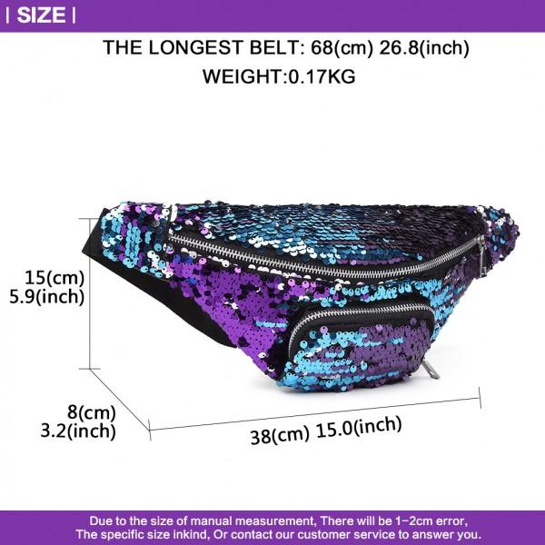 E6832-MISS LULU SEQUIN Zip Front WAISTBAG Bum Bag PURPLE