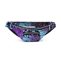 E6832-MISS LULU SEQUIN Zip Front WAISTBAG Bum Bag PURPLE
