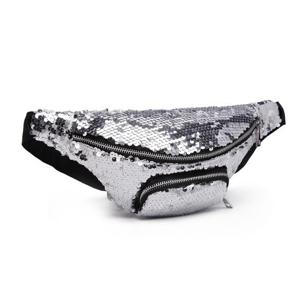 E6832-MISS LULU SEQUIN Zip Front WAISTBAG Bum Bag SILVER