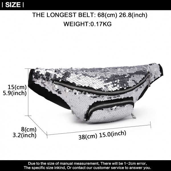E6832-MISS LULU SEQUIN Zip Front WAISTBAG Bum Bag SILVER