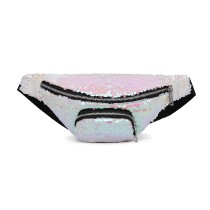 E6832-MISS LULU SEQUIN Zip Front WAISTBAG Bum Bag WHITE