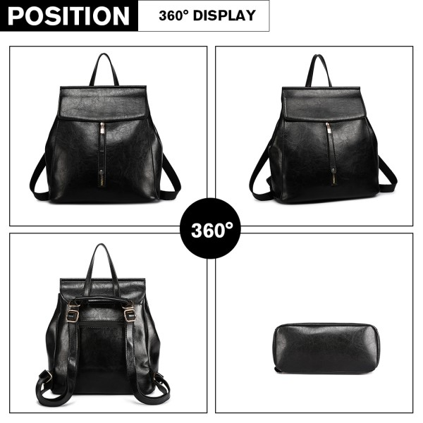 E6833-MISS LULU Vintage Oil-Wax Faux Leather Backpack BLACK