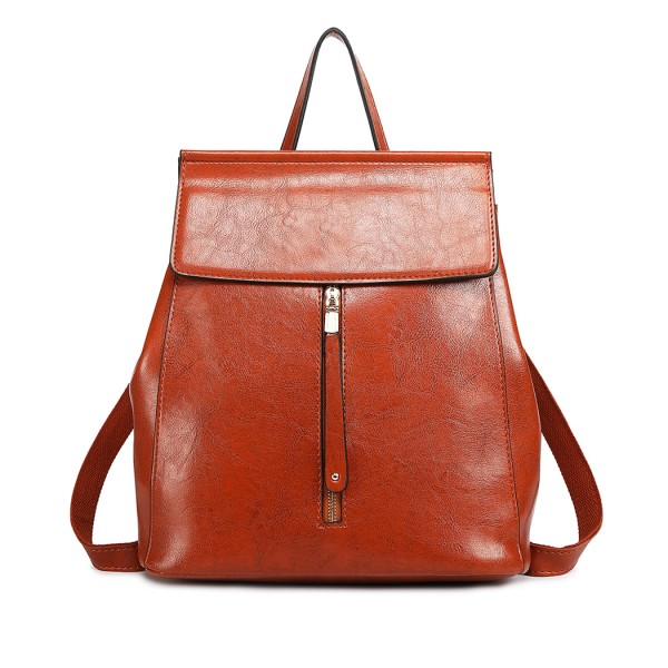 E6833-MISS LULU Vintage Oil-Wax Faux Leather Backpack BROWN