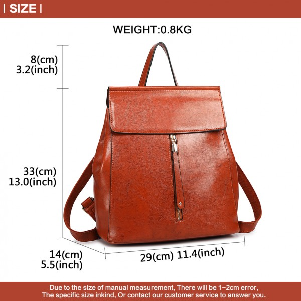 E6833 - MISS LULU Vintage Oil-Wax Faux Leather Backpack - Brown