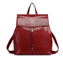 E6833-MISS LULU Vintage Oil-Wax Faux Leather Backpack BURGUNDY