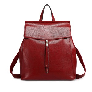 E6833-MISS LULU OIL WAX LEATHER LOOK MODA MOCHILA BORGOÑA
