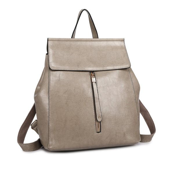 E6833 - MISS LULU Vintage Oil-Wax Faux Leather Backpack - Grey
