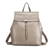 E6833-MISS LULU Vintage Oil-Wax Faux Leather Backpack GREY