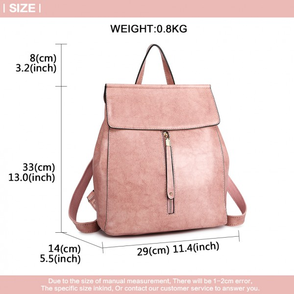 E6833-MISS LULU Vintage Oil-Wax Faux Leather Backpack PINK