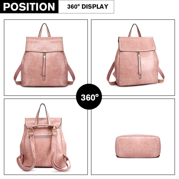 E6833 - MISS LULU Vintage Oil-Wax Faux Leather Backpack - Pink
