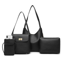 E6835-MISS LULU PU LEATHER 4 PIECES TOTE CELL PHONE POCKET SHOULDER BAG WITH PURSE BLACK