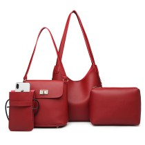 E6835-MISS LULU PU LEATHER 4 PIECES TOTE CELL PHONE POCKET SHOULDER BAG WITH PURSE BURGUNDY