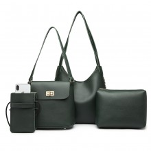 E6835-MISS LULU PU LEATHER 4 PIECES TOTE CELL PHONE POCKET SHOULDER BAG WITH PURSE GREEN