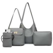 E6835-MISS LULU PU LEATHER 4 PIECES TOTE CELL PHONE POCKET SHOULDER BAG WITH PURSE GREY