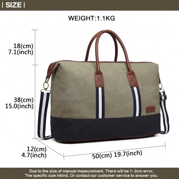 E6836-KONO CANVAS DUAL ZIPPER TRAVEL BAG HANDBAG SHOULDER BAG GREEN