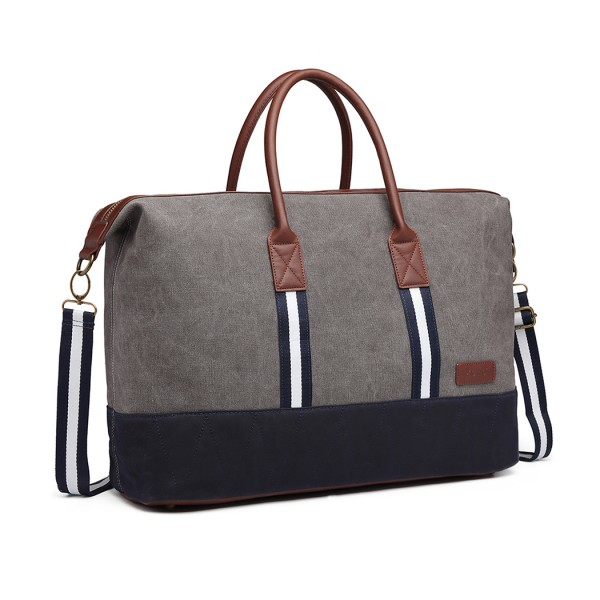 E6836-KONO CANVAS DUAL ZIPPER TRAVEL BAG HANDBAG SHOULDER BAG GREY