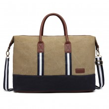 E6836-KONO CANVAS DUAL ZIPPER TRAVEL BAG HANDBAG SHOULDER BAG KHAKI
