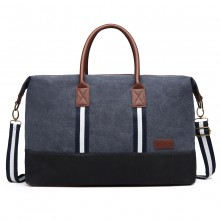 E6836-KONO CANVAS DUAL ZIPPER TRAVEL BAG HANDBAG SHOULDER BAG NAVY