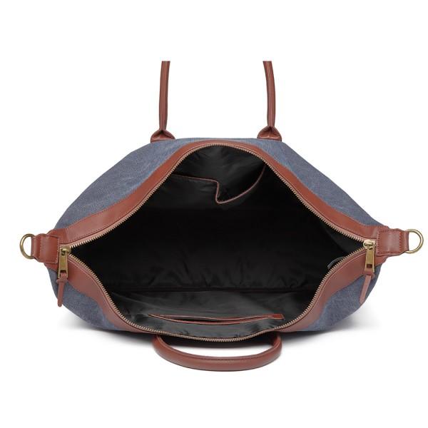 E6836-KONO CANVAS DUAL ZIPPER TRAVEL BAG HANDBAG SHOULDER BAG NAVY