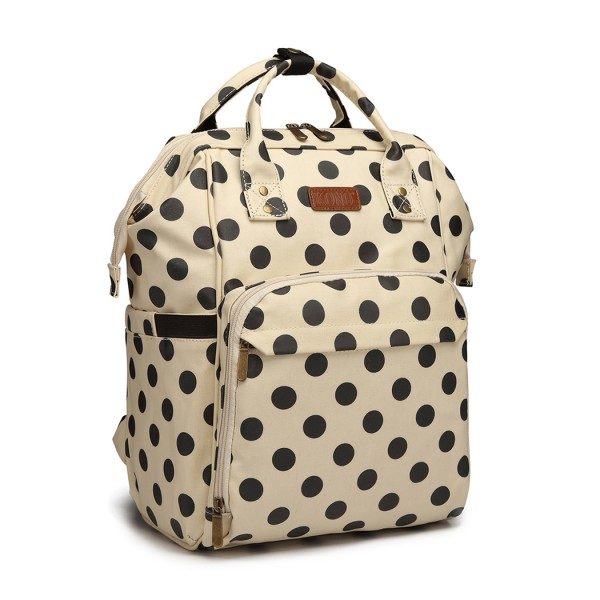 E6837D2-KONO MULTIPURPOSE CANVAS MATERNITY BABY BACKPACK DOT BEIGE