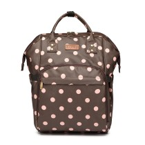 E6837D2-KONO MULTIPURPOSE CANVAS MATERNITY BABY BACKPACK DOT COFFEE