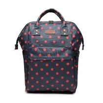 E6837D2-KONO MULTIPURPOSE CANVAS MATERNITY BABY BACKPACK DOT NAVY/RED