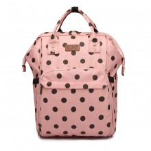 E6837D2-KONO SAC À DOS BÉBÉ MATERNITÉ À USAGES MULTIPLES DOT ROSE