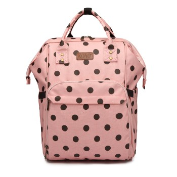 E6837D2-KONO MULTIPURPOSE CANVAS MATERNITY BABY BACKPACK DOT PINK