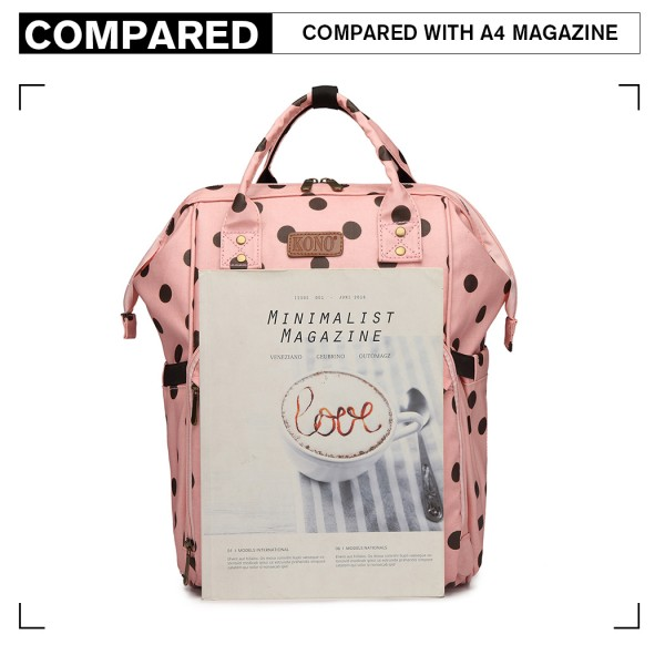 E6837D2-KONO MULTIPURPOSE CANVAS MATERNITY BABY BACKPACK DOT PINK