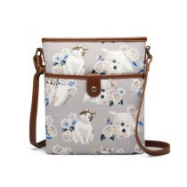 E6838-17CT-MISS LULU CANVAS ZIPPER CIERRE BOLSA DE HOMBRO CROSS BODY BAG GRIS