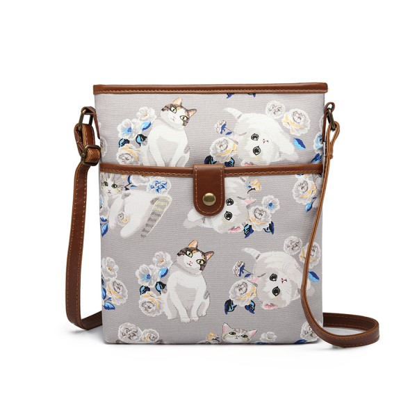 E6838-17CT - Miss Lulu Cat Print Nylon Pouch Cross Body Bag - Grey